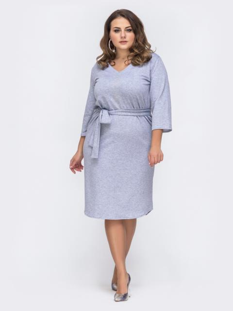 Серое платье батал с V-вырезом и стразами - 43741, фото 1 – интернет-магазин Dressa