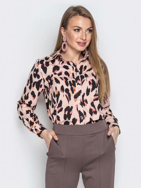 Шифоновая блузка с леопардовым принтом бежевый - 20372, фото 1 – интернет-магазин Dressa