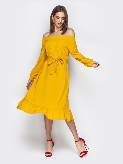 """Желтое платье с воротником """"анжелика"""" и воланом по низу - 21109, фото 1 – интернет-магазин Dressa"""