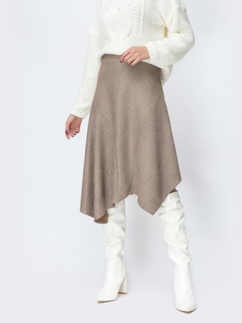 Асимметричная юбка из трикотажа бежевая - 44155, фото 1 – интернет-магазин Dressa