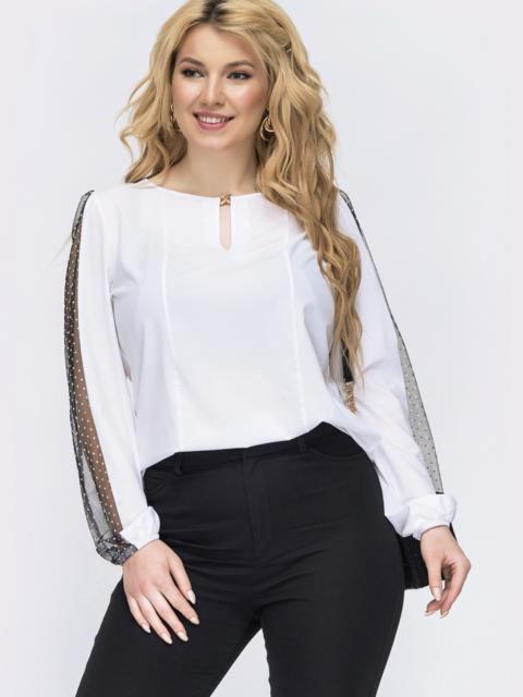 Белая блузка из софта большого размера 47738, фото 1