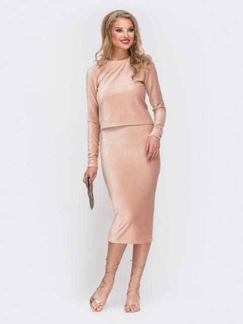 Комплект из кофты и юбки с резинкой по талии пудра - 42912, фото 1 – интернет-магазин Dressa