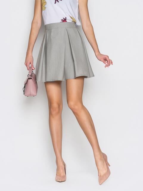 Короткая юбка с широкими складками серая 38366, фото 1