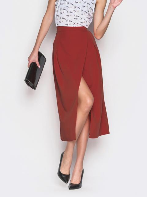 Красная юбка-миди на запах из костюмной ткани - 12891, фото 1 – интернет-магазин Dressa