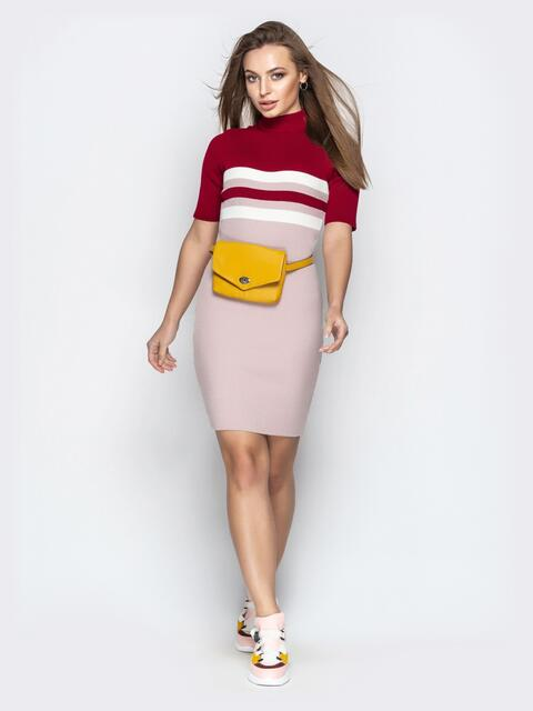 Обтягивающее платье с короткими рукавами бордовое - 21378, фото 1 – интернет-магазин Dressa