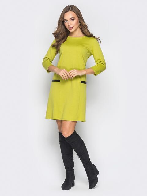 Платье А-силуэта зелёного цвета с карманами - 18704, фото 1 – интернет-магазин Dressa