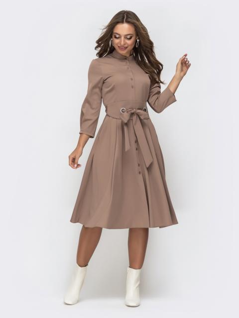 Платье бежевого цвета с расклешенной юбкой 44817, фото 1