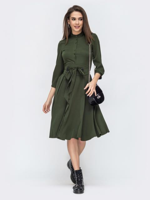 Платье цвета хаки с расклешенной юбкой 44819, фото 1