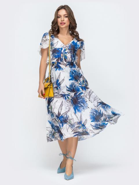 Платье с принтом и вафельной резинкой по талии белое 46881, фото 1