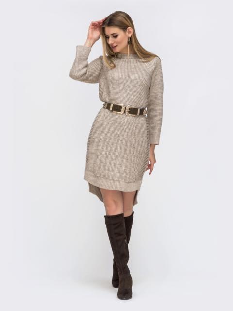 Платье с удлиненной спинкой бежевое - 43127, фото 1 – интернет-магазин Dressa