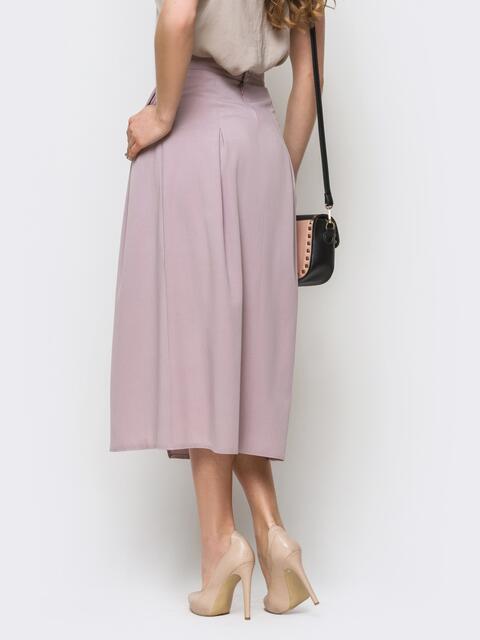 Сиреневая юбка-миди на запах из костюмной ткани - 12890, фото 1 – интернет-магазин Dressa