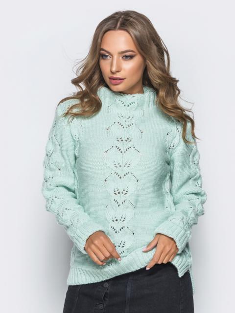 Свитер бирюзового цвета с воротником и перфорацией - 17100, фото 1 – интернет-магазин Dressa