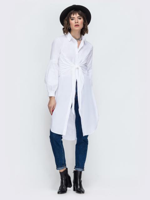 Удлиненная рубашка из хлопка белая 44822, фото 1