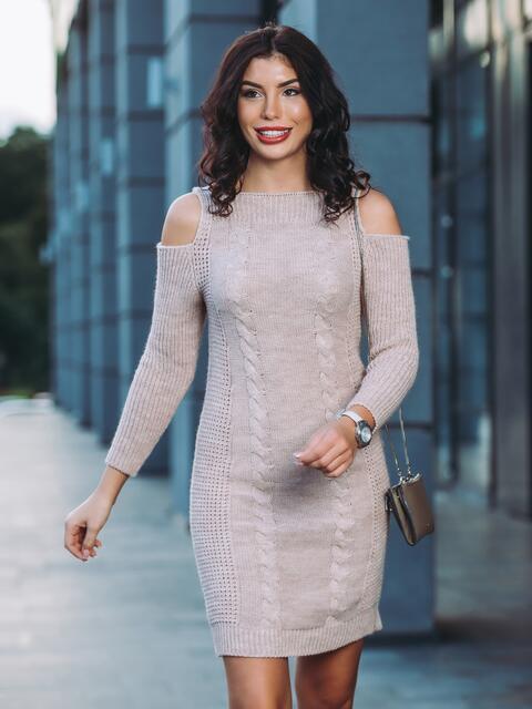 Вязаное платье с открытыми плечами бежевое - 13171, фото 1 – интернет-магазин Dressa