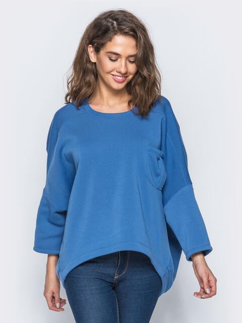 Худи голубого цвета на флисе в стиле oversize - 17383, фото 1 – интернет-магазин Dressa