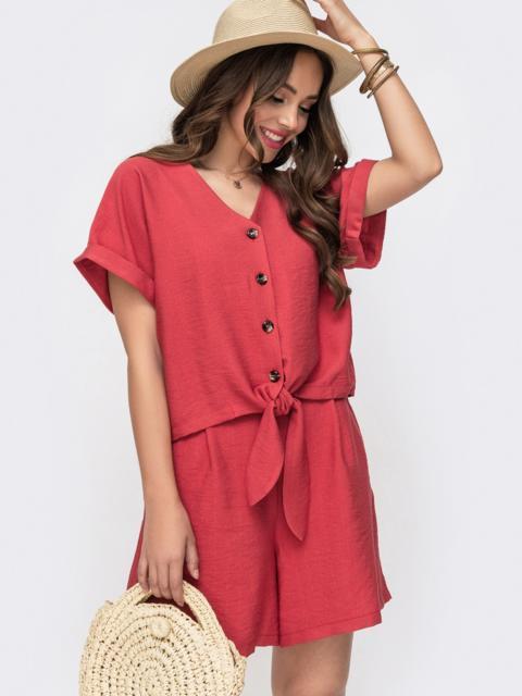 Комплект из блузки с цельнокроенным рукавом и шорт коралловый - 49315, фото 1 – интернет-магазин Dressa