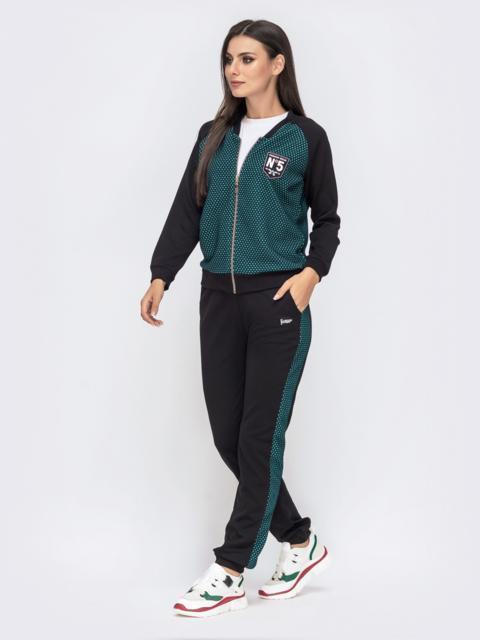 Комплект из кофты и брюк-джоггеров зеленый - 41484, фото 1 – интернет-магазин Dressa