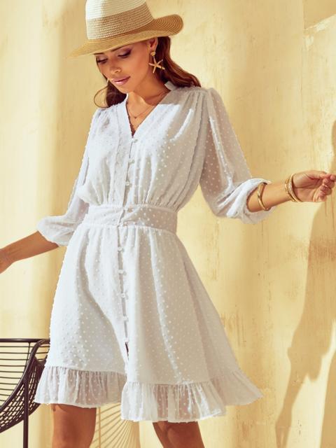 Короткое платье из шифона с расклешенной юбкой белое 53791, фото 1