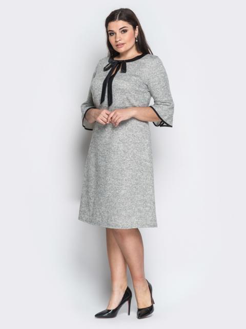 """Платье из трикотажа """"Ангора"""" с завязкой на горловине серое - 18363, фото 1 – интернет-магазин Dressa"""
