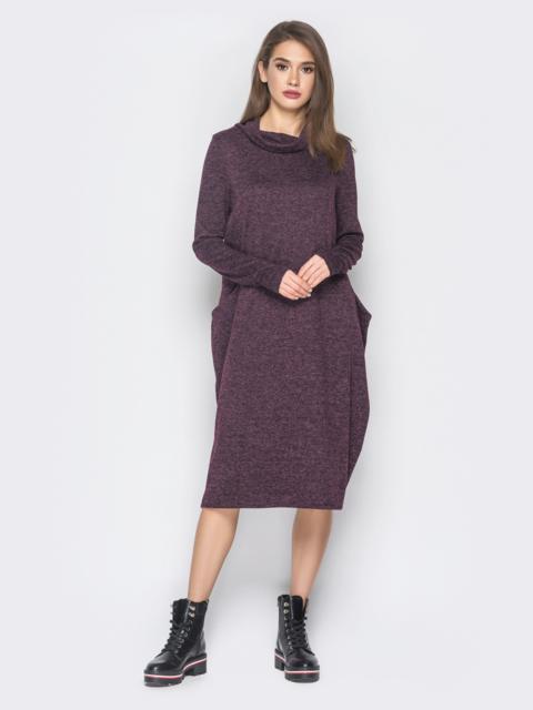 Платье в стиле oversize из полированной ангоры фиолетовое - 19051, фото 1 – интернет-магазин Dressa