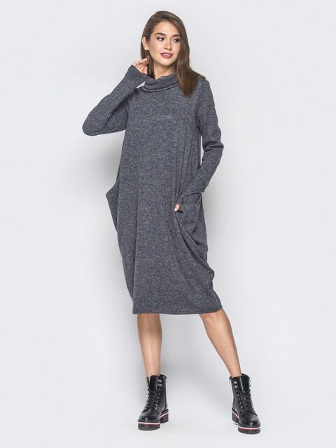 Платье в стиле oversize из полированной ангоры серое - 19052, фото 1 – интернет-магазин Dressa
