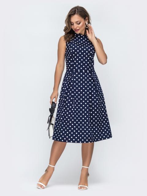 Принтованное платье с бантовыми складками на юбке тёмно-синее - 45828, фото 1 – интернет-магазин Dressa
