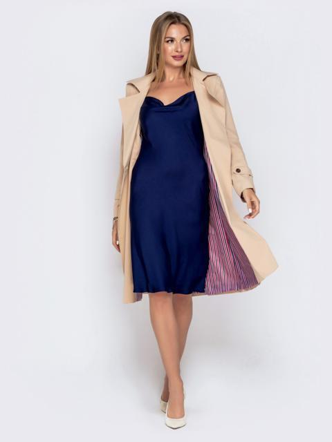Приталенное платье из шелка на регулируемых бретелях синее - 40957, фото 1 – интернет-магазин Dressa