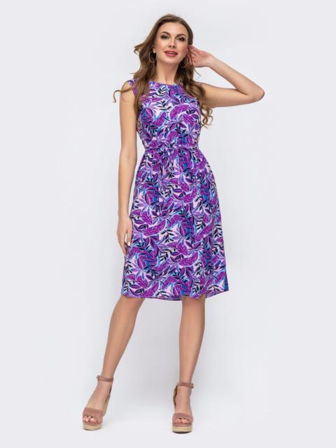 Расклешенное платье из софта с принтом фиолетовое 46968, фото 1