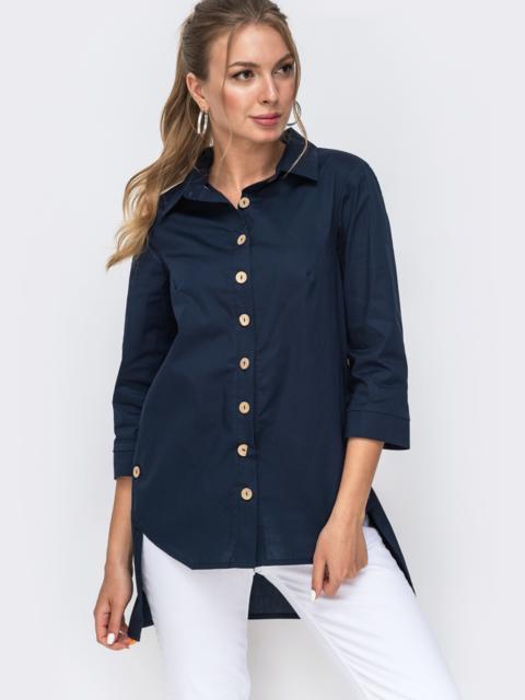 Рубашка тёмно-синего цвета с удлиненной спинкой 49442, фото 1