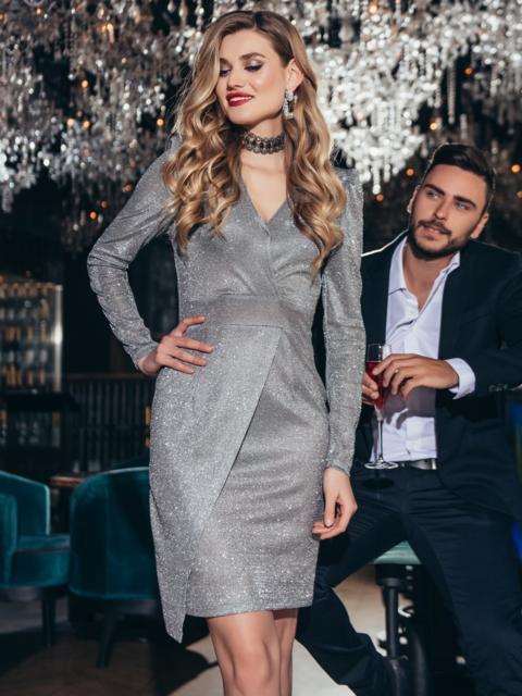 Серое платье приталенного кроя с люрексом - 42676, фото 1 – интернет-магазин Dressa