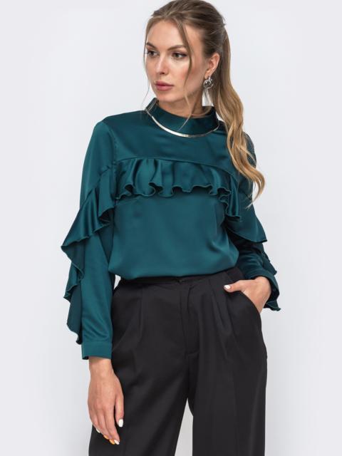 Шелковая блузка с оборкой по лифу и рукавам зеленая 49441, фото 1