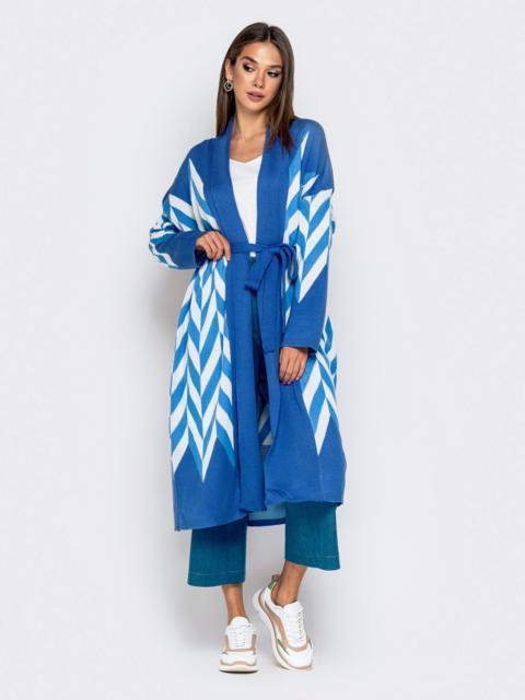 Вязаный кардиган синего цвета с контрастными вставками - 41192, фото 1 – интернет-магазин Dressa