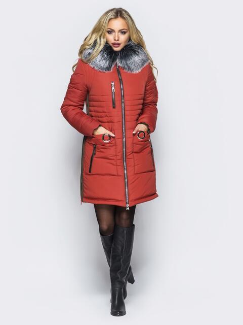 Зимняя куртка с молниями в боковых швах оранжевая - 16711, фото 1 – интернет-магазин Dressa