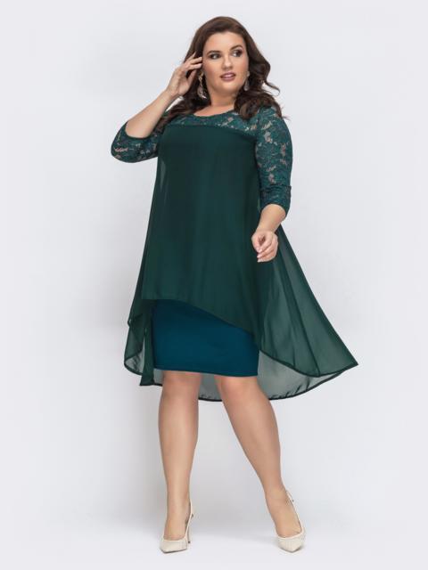 Тёмно-зелёное платье с рукавами из гипюра 43322, фото 1