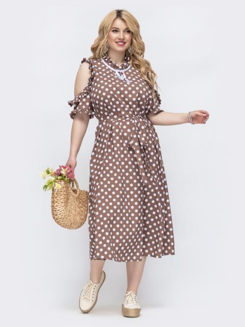 Бежевое платье в горох большого размера 47816, фото 1