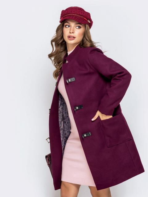 Бордовое пальто на кнопках с накладными карманами - 40205, фото 1 – интернет-магазин Dressa