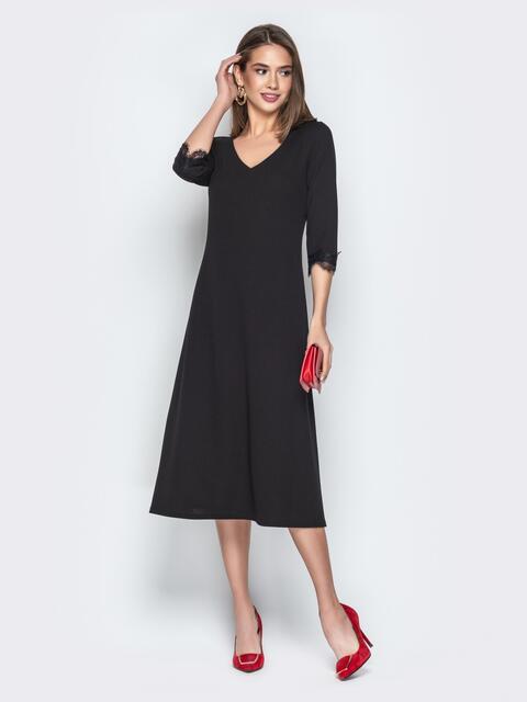 Чёрное платье приталенного кроя с V-вырезом горловины - 21034, фото 1 – интернет-магазин Dressa