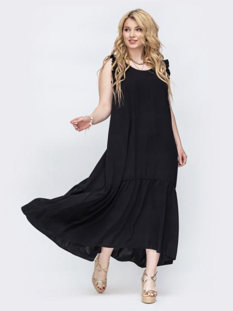 Черное платье свободного кроя батал 47819, фото 1