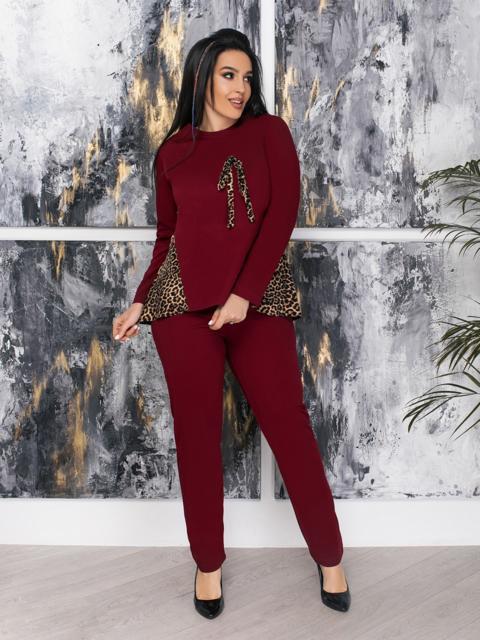 Комплект большого размера со вставками на кофте бордовый - 47343, фото 1 – интернет-магазин Dressa