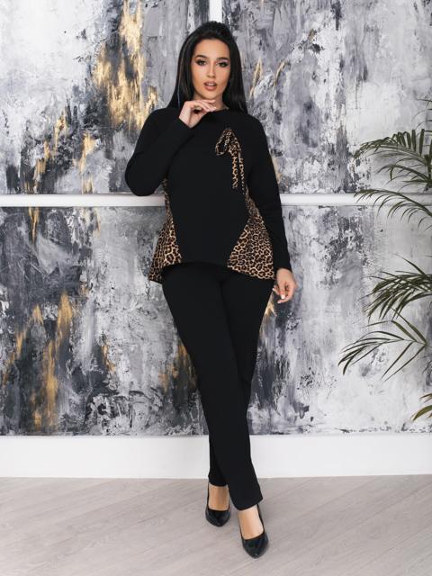 Комплект большого размера со вставками на кофте чёрный - 47346, фото 1 – интернет-магазин Dressa