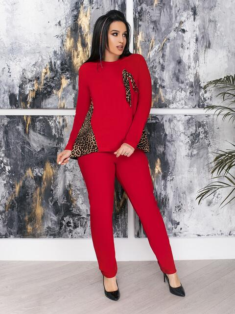 Комплект большого размера со вставками на кофте красный - 47347, фото 1 – интернет-магазин Dressa