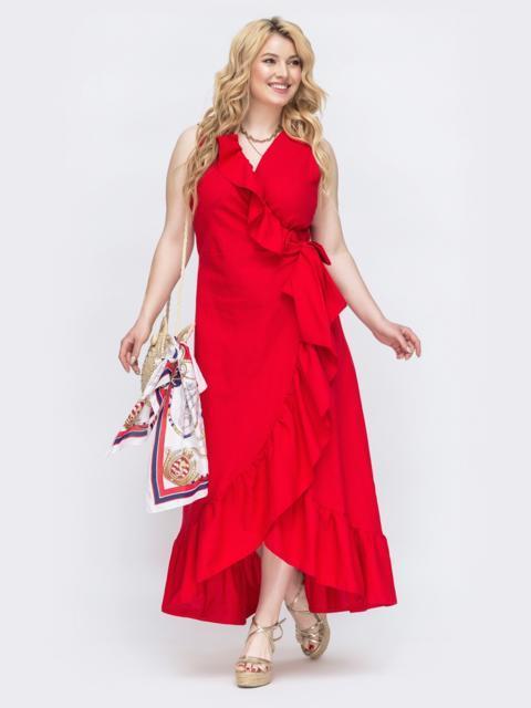 Красное платье на запах большого размера 47810, фото 1