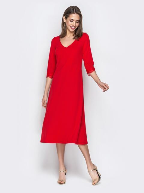 Красное платье приталенного кроя с V-вырезом горловины - 21035, фото 1 – интернет-магазин Dressa