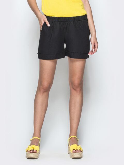 Льняные шорты черного цвета с резинкой по талии 39597, фото 1