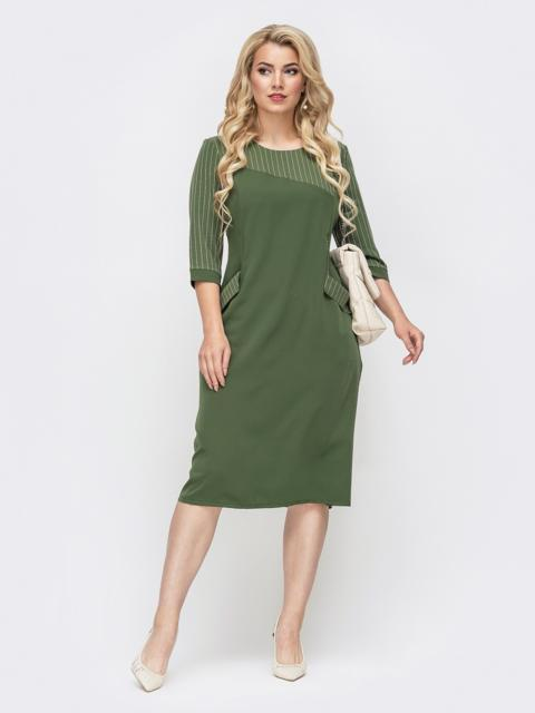 Платье батал с фигурной кокеткой в полоску хаки 50782, фото 1