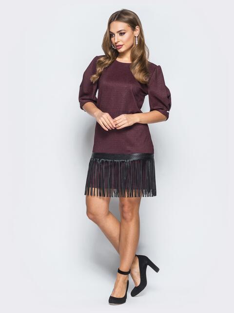 Платье бордового цвета с кожаной бахромой на подоле - 18125, фото 1 – интернет-магазин Dressa