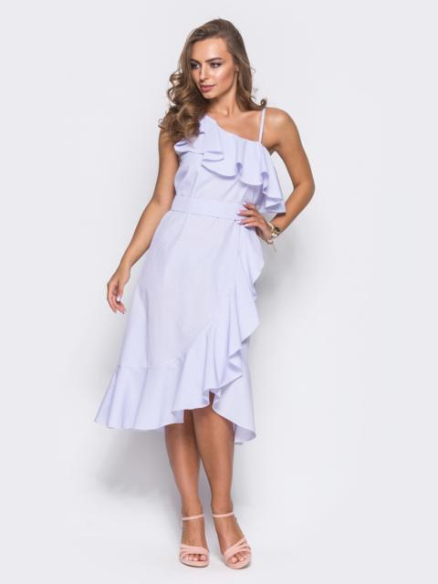 Платье на одно плечо в полоску с широким воланом - 11493, фото 1 – интернет-магазин Dressa