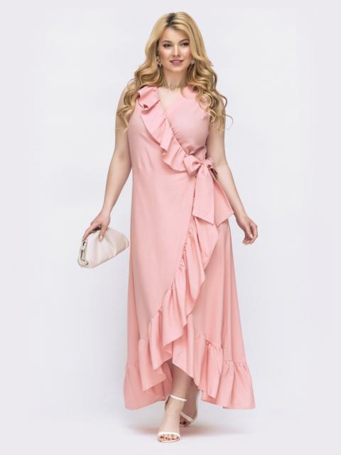 Платье на запах батал цвета пудра 47811, фото 1