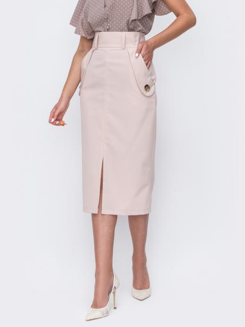 Пудровая юбка-карандаш с разрезом спереди 49510, фото 1