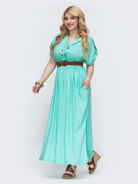 Расклешенное платье батал зеленого цвета 47817, фото 1